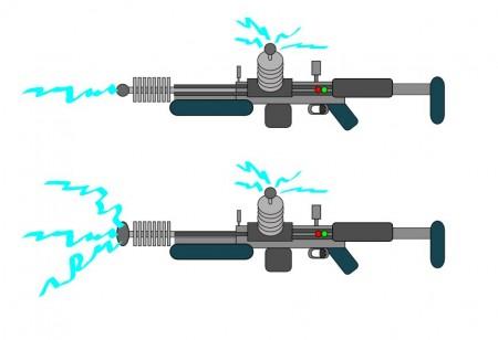 Usměrněná a rozptýlená šoková puška