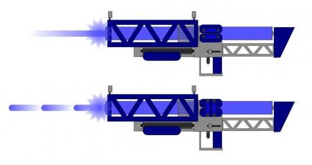 Paprsková a pulzní bifázová puška